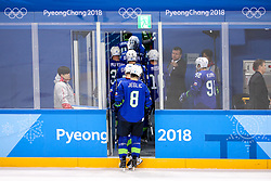 GANGNEUNG, SOUTH KOREA - FEBRUARY 17:  Ziga Jeglic of Slovenia and players leaving the ice during the ice hockey match between Slovenia and Slovakia in the Preliminary Round on day eight of the PyeongChang 2018 Winter Olympic Games at Kwangdong Hockey Centre on February 17, 2018 in Gangneung, South Korea. Photo by Kim Jong-man / Sportida
