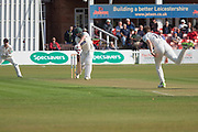 WICKET - Paul Horton caught off Richard Gleeson 1st ball during the Specsavers County Champ Div 2 match between Leicestershire County Cricket Club and Lancashire County Cricket Club at the Fischer County Ground, Grace Road, Leicester, United Kingdom on 23 September 2019.