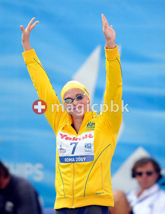 Lisbeth (Libby) TRICKETT of Australia waves to the crowd before competing in the women's 50m freestyle final at the 13th FINA World Championships at the Foro Italico complex in Rome, Italy, Sunday, Aug. 2, 2009. (Photo by Patrick B. Kraemer / MAGICPBK)
