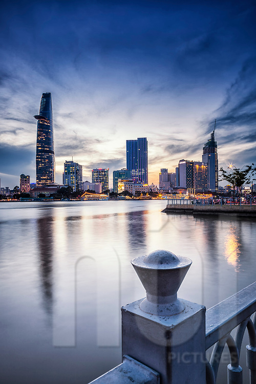 Bitexco tower at dusk in Ho Chi Minh city, Vietnam, Southeast Asia