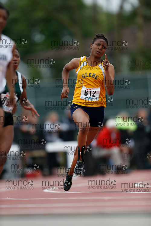 Courtney Dwyer of Glebe CI - Ottawa competes in the 200m heats at the 2013 OFSAA Track and Field Championship in Oshawa Ontario, Saturday,  June 8, 2013.<br /> Mundo Sport Images/ Geoff Robins