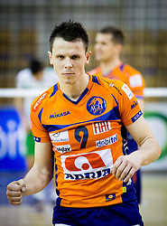 Matija Plesko of ACH during volleyball game between OK ACH Volley and OK Panvita Pomgrad in 1st final match of Slovenian National Championship 2013/14, on April 6, 2014 in Arena Tivoli, Ljubljana, Slovenia. Photo by Vid Ponikvar / Sportida