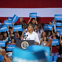 President Barack Obama speaks during his Grassroots event at the Kissimmee Civic Center in Kissimmee, Florida on Saturday, September 8, 2012. (AP Photo/Alex Menendez)
