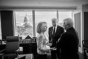 University of Pennsylvania President Amy Gutmann from left, former Vice President Joe Biden and former Connecticut Senator Christopher Dodd talk with each other prior to the ceremony for the official opening of the Penn Biden Center for Diplomacy & Global Engagement in Washington, D.C. on February 8.