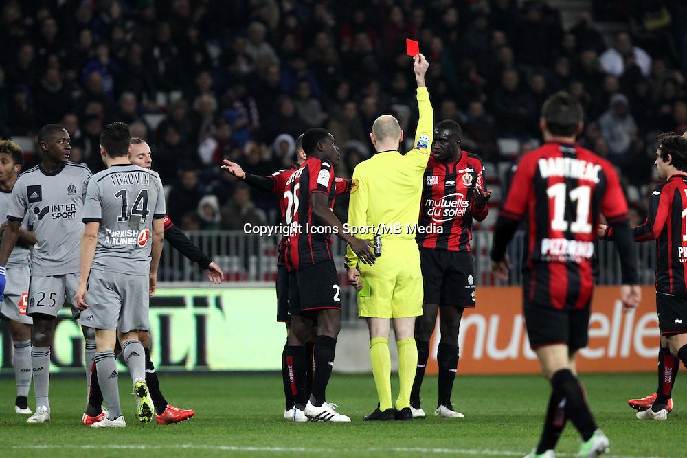 Antony GAUTIER / Expulsion Kevin GOMIS - 23.01.2015 - Nice / Marseille - 22eme journee de Ligue 1<br />Photo : Jean Christophe Magnenet / Icon Sport