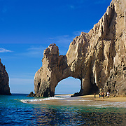 The Arch. Rock formation at lands end in Cabo San Lucas. Baja California Sur, Mexico.<br /> Every once in a while the currents bring more sand than ussual and on low tide you can walk under the arch.