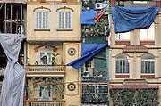Facade of Tube Houses on Tran Nhat Duat Street, Hanoi, Vietnam