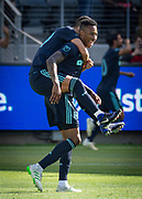 LAFC midfielder Mark-Anthony Kaye (14) celebrates with teammate LAFC midfielder Eduard Atuesta (20) after scoring a goal in an MLS soccer match in Los Angeles, Sunday, April 21, 2019. LAFC defeated the Sounders 4-1. (Ed Ruvalcaba/Image of Sport)