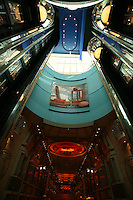 Royal Caribbean International's  Independence of the Seas, the world?s largest cruise ship. ..Interior and exterior features photos...Lift Atrium with cotten reel sculpture & Royal promenade. *** Local Caption *** Lift Atrium with cotten reel sculpture & Royal promenade.