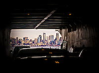 A view of downtown Seattle, WA, USA from inside the car deck of a Washington State Ferry.