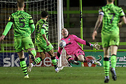Forest Green Rovers goalkeeper Conrad Logan(26), on loan from Mansfield Town makes a save during the EFL Sky Bet League 2 match between Forest Green Rovers and Carlisle United at the New Lawn, Forest Green, United Kingdom on 28 January 2020.