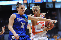 Mar 23, 2013; Knoxville, TN, USA; Creighton Bluejays guard Jordan Garrison (32) defends Syracuse Orange guard Elashier Hall (2) in the second half during the first round of the 2013 NCAA womens tournament at Thompson Boling Arena. Creighton won 61 to 56. Mandatory Credit: Randy Sartin-USA TODAY Sports