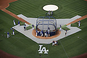 LOS ANGELES, CA - JULY 29:  Overhead general view photograph taken as the Los Angeles Dodgers take batting practice before the game against the Atlanta Braves at Dodger Stadium on Tuesday, July 29, 2014 in Los Angeles, California. The Dodgers won the game 8-4. (Photo by Paul Spinelli/MLB Photos via Getty Images)