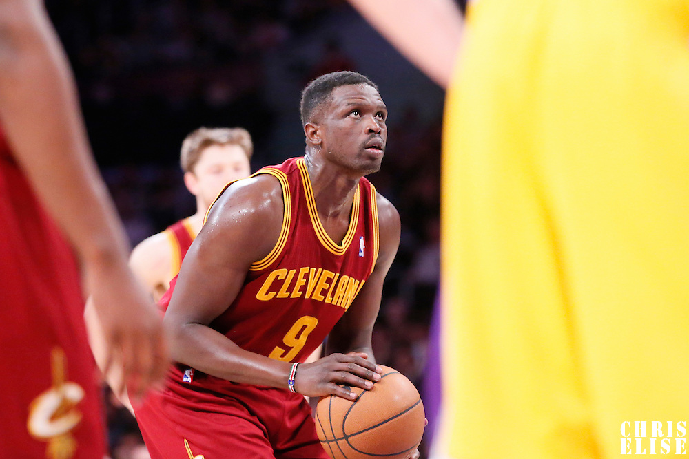 14 January 2014: Cleveland Cavaliers small forward Luol Deng (9) is seen at the free throw line during the Cleveland Cavaliers 120-118 victory over the Los Angeles Lakers at the Staples Center, Los Angeles, California, USA.