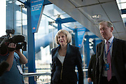 © Licensed to London News Pictures. 30/09/2014. Birmingham, UK. The Home Secretary Theresa May walks to the conference centre to make her speech.  The Conservative Party Conference in Birmingham 30th September 2014. Photo credit : Stephen Simpson/LNP