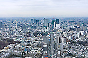 Tokyo aerial cityscape view from the direction of Roppongi Hills