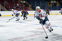 KELOWNA, CANADA - SEPTEMBER 5: Nic Holowko #14 of the Kamloops Blazers skates with the puck against the Kelowna Rockets on September 5, 2017 at Prospera Place in Kelowna, British Columbia, Canada.  (Photo by Marissa Baecker/Shoot the Breeze)  *** Local Caption ***