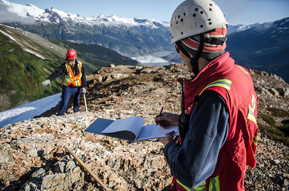 Geologists carry out structural and alteration mapping on HDI Brigade's Tennyson-Tide project, near Stewart BC