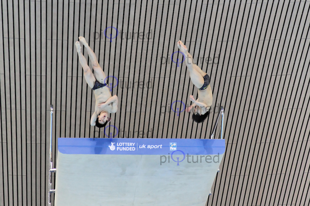LONDON - FEBRUARY 23: Men's Synchronised 10m Platform FINA Visa Diving World Cup, Aquatic Centre, Olympic Park, London, UK on February 23, 2012. (Photo by Richard Goldschmidt)
