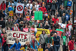 © Licensed to London News Pictures.  20/05/2017; Bristol, UK. Bristol March through the city centre to Defend Education, called by National Union of Teachers. The SW Region of the NUT have called a demonstration in Bristol on May 20th in response what they say is the huge assault on school funding which if enacted will have a devastating impact on the vast majority of children. The NUT say this will lead to larger class sizes, less support for children with special needs and reduced subject choices. Similar demonstrations are planned in London and many other cities and towns. The march is taking place during the General Election 2017 campaign period.<br /> Picture credit : Simon Chapman/LNP