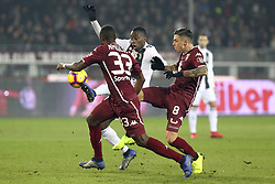 December 15, 2018 - Turin, Piedmont, Italy - Blaise Matuidi (Juventus FC) and Daniele Baselli (Torino FC) competes for the ball during the Serie A football match between Torino FC and Juventus FC at Olympic Grande Torino Stadium on December 15, 2018 in Turin, Italy. Torino lost 0-1 against Juventus. (Credit Image: © Massimiliano Ferraro/NurPhoto via ZUMA Press)