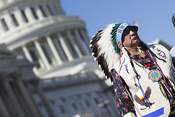 October 3, 2017 - Washington, District Of Columbia, USA - Chairman BRANDON SAZUE of the Crow Creek Sioux Tribe during a press conference introducing the Tribal Heritage and Grizzly Bear Protection Act outside the United States Capitol Building. (Credit Image: © Alex Edelman via ZUMA Wire)