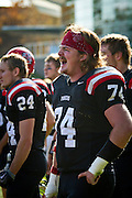 Jake McVeigh '11 yells at teammates on the field during Saturday's Pioneer victory over Illinois College on Rosenbloom Field.