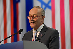 March 25, 2019 - Washington, D.C, United States - Sen. Chuck Schumer (D-NY), Senate Democratic Leader delivers remarks at the AIPAC Policy Conference in Washington, DC on March 25, 2019  (Credit Image: © Kyle Mazza/NurPhoto via ZUMA Press)