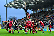 Jonny Hill of Exeter Chiefs leaps up to catch the ball during a lineout during the Aviva Premiership match between Exeter Chiefs and Harlequins at Sandy Park, Exeter, United Kingdom on 19 November 2017. Photo by Graham Hunt.