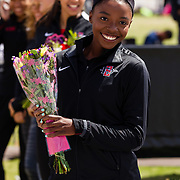 23 March 2018: San Diego State senior Jasmine Young is recognized during a seniors ceremony at  the final day of the 43rd annual Aztec Invitational.<br /> More game action at sdsuaztecphotos.com