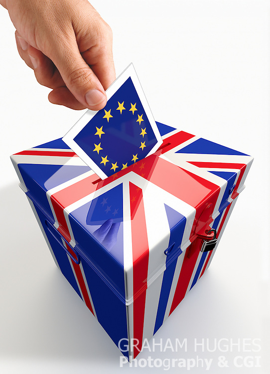 EU Stars Ballot Slip being placed in slot of Union Jack Ballot Box by male hand.
