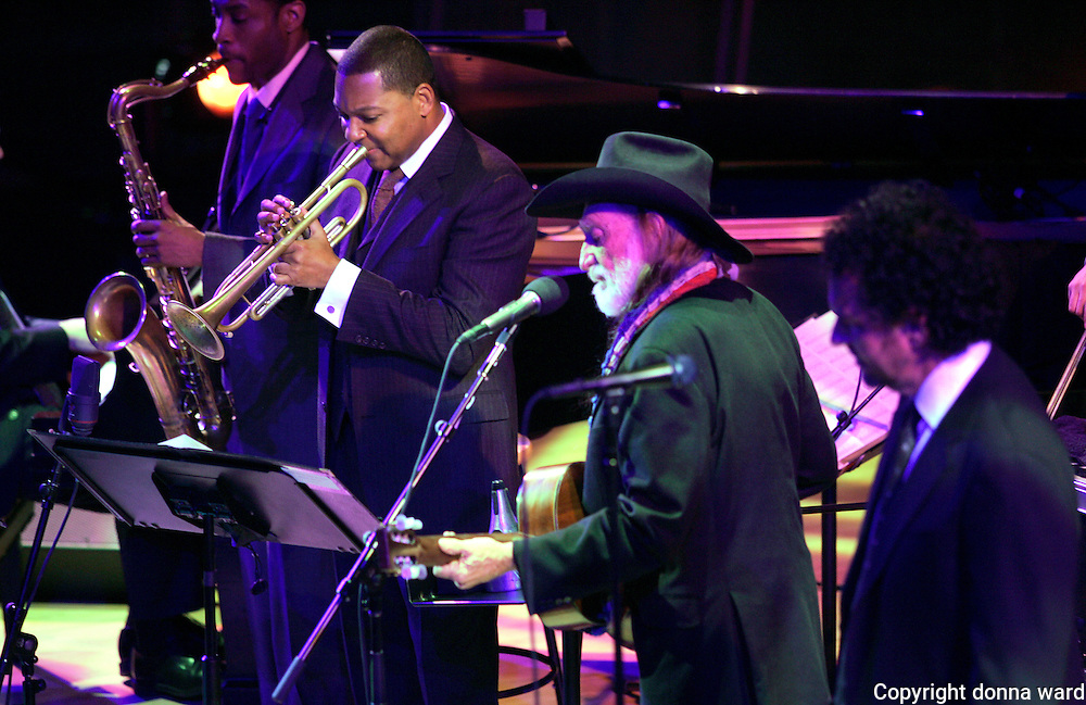Walter Blanding, Wynton Marsalis and Willie Nelson on stage in the Allen Room at Jazz at Lincoln Center on Friday, January 12, 2007 in New York.
