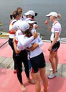 Hamilton, New Zealand, 2010  World Rowing Championships, Lake Karapiro Saturday  06/11/2010 GER, and USA, LW4X crews congratulate each other [Mandatory Credit Karon Phillips/Intersport Images]