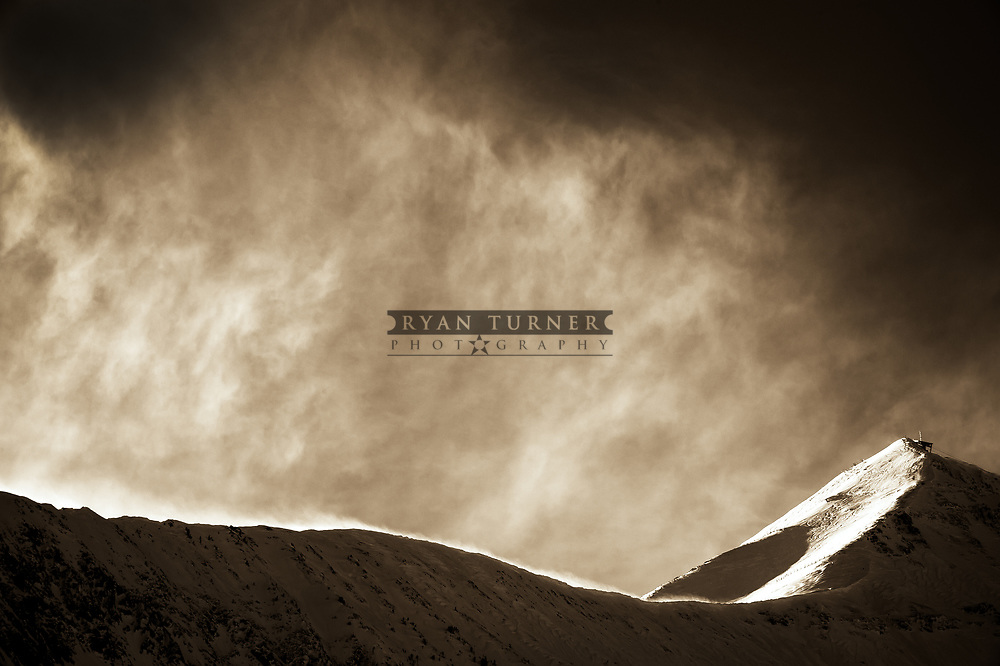 A beautifully shaped, sepia toned Lone Peak in Big Sky, Montana.  Limited Edition - 75