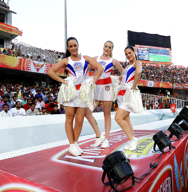 Cheer Girls of Kings XI Punjab performs during match 39 of the Pepsi Indian Premier League Season 2014 between the Sunrisers Hyderabad and the Kings XI Punjab held at the Rajiv Gandhi Cricket Stadium, Hyderabad, India on the 14th May  2014<br /> <br /> Photo by Sandeep Shetty / IPL / SPORTZPICS<br /> <br /> <br /> <br /> Image use subject to terms and conditions which can be found here:  http://sportzpics.photoshelter.com/gallery/Pepsi-IPL-Image-terms-and-conditions/G00004VW1IVJ.gB0/C0000TScjhBM6ikg