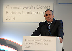 Image ©Licensed to i-Images Picture Agency. 22/07/2014. Glasgow, Scotland. Alex Salmond, First Minister of Scotland speaking during the  Commonwealth Games Business Conference 2014 at Glasgow University. Picture by Andrew Parsons / i-Images