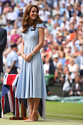 Duchess of Cambridge is seen at the trophy ceremony of the Men's Singles Final match at Wimbledon on Sunday, July 14, 2019. Photo by ABACAPRESS.COM