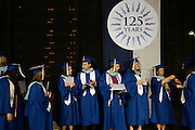 Students in line before the Undergraduate Commencement in the Spokane Veterans Memorial Arena on Sunday, May 13, 2012.
