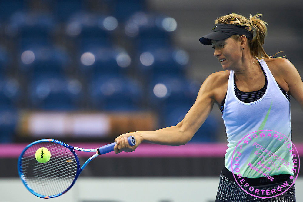Maria Sharapova from Russia plays during official training session two days before the Fed Cup / World Group 1st round tennis match between Poland and Russia at Krakow Arena on February 5, 2015 in Cracow, Poland.<br /> <br /> Poland, Cracow, February 5, 2015<br /> <br /> Picture also available in RAW (NEF) or TIFF format on special request.<br /> <br /> For editorial use only. Any commercial or promotional use requires permission.<br /> <br /> Adam Nurkiewicz declares that he has no rights to the image of people at the photographs of his authorship.<br /> <br /> Mandatory credit:<br /> Photo by &copy; Adam Nurkiewicz / Mediasport