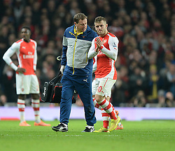 Arsenal's Jack Wilshere leaves the field. - Photo mandatory by-line: Alex James/JMP - Mobile: 07966 386802 - 22/11/2014 - Sport - Football - London - Emirates Stadium - Arsenal v Manchester United - Barclays Premier League