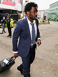 Manchester City's Wilfried Bony arrives at Manchester Airport to board the team flight to Barcelona ahead of the UEFA Champions League second leg match against Barcelona - Photo mandatory by-line: Matt McNulty/JMP - Mobile: 07966 386802 - 17/03/2015 - SPORT - Football - Manchester - Manchester Airport - Barcelona v Manchester City - UEFA Champions League