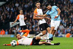 Sergio Aguero of Manchester City is tackled by Serhiy Kryvtsov of Shakhtar Donetsk - Mandatory by-line: Matt McNulty/JMP - 26/09/2017 - FOOTBALL - Etihad Stadium - Manchester, England - Manchester City v Shakhtar Donetsk - UEFA Champions League Group stage - Group F