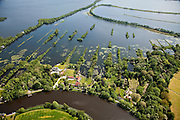 Nederland, Utrecht, Vreeland, 25-05-2010. Terra Nova, landgoed en landhuis. De veenplassen zijn onderdeel van de Loosdrechtse Plassen, onder in beeld de Vecht. Het oude patroon van de vervening met trekgaten en legakkers  is nog goed te zien, de legakkers worden door beschoeiing beschermd tegen verdere erosie. In de achtergrond de Waterleidingplas (drinkwater Amsterdam)..Terra Nova, estate and mansion. Peat bogs, part of the Loosdrecht Lakes. The old pattern of peat holes and drying fields is still clearly visible, the legakkers (laying or drying fields) are proteced against erosion by means sheetpiling. Production of drinking water..luchtfoto (toeslag), aerial photo (additional fee required).foto/photo Siebe Swart