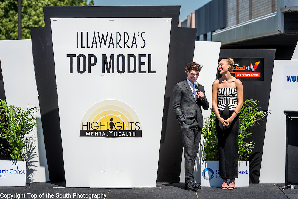 L-R RJ Mitte &amp; Australian model Kitta Jones.<br />  Illawarra's Top Model Finals &amp; Runway Fashion Show at Wollongong Mall, NSW, Australia.<br />  10th October 2015.
