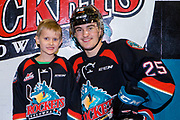 KELOWNA, CANADA - DECEMBER 01: Save on Foods Player of the Game with Kyle Crosbie #25 of the Kelowna Rockets at the Kelowna Rockets game on December 01, 2018 at Prospera Place in Kelowna, British Columbia, Canada. (Photo By Cindy Rogers/Nyasa Photography, *** Local Caption ***