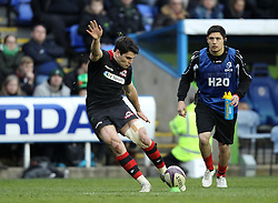 Edinburgh's Sam Hidalgo-Clyne kicks a conversion - Photo mandatory by-line: Robbie Stephenson/JMP - Mobile: 07966 386802 - 05/04/2015 - SPORT - Rugby - Reading - Madejski Stadium - London Irish v Edinburgh Rugby - European Rugby Challenge Cup