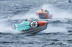 The P1 Scottish Grand Prix of the Sea is the second of four events across the UK for the P1 Powerboat Championship taking place at Greenock.<br /> <br /> Pictured: Milford Waterfront Pembrokeshire Panther team leading Experience Kissimmee team
