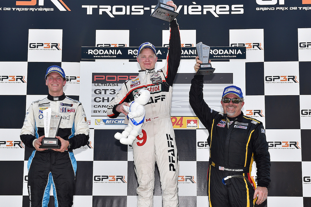 7-10 August, 2014, Trois-Rivieres, Quebec Canada<br /> Race 1 Platinum podium 9, Christopher Green, Platinum, 2014 Porsche, 69, Scott Hargrove, Platinum, 2014 Porsche, 22, Carlos De Quesada, Platinum, M, 2014 Porsche<br /> &copy;2014, Scott R LePage <br /> LAT Photo USA