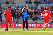 Ed Barnard of Worcestershire reacts after being hit for a boundary during the Vitality T20 Finals Day Semi Final 2018 match between Worcestershire Rapids and Lancashire Lightning at Edgbaston, Birmingham, United Kingdom on 15 September 2018.