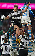 Twickenham, United Kingdom, Lood DE JAGER, distributes the line out ball Killik Cup Match, Barbarians vs Argentina, RFU Stadium, Twickenham, England,<br /> <br /> Saturday    21/11/2015  <br /> <br /> [Mandatory Credit; Peter Spurrier/Intersport-images]